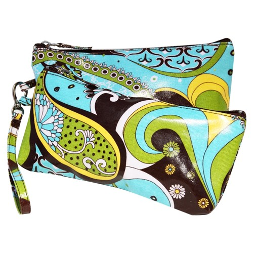 Promenade Paisley Double Clutch Cosmetic Bags