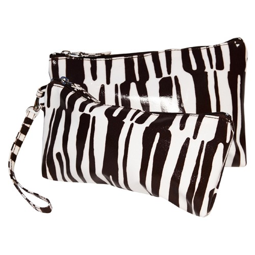 Westside Mod Zebra Double Clutch Cosmetic Bags